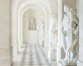 Bright White 8x10 Versailles Photography, Tile, Sculpture, Statue - Marie Antoinette, French, Paris, Light, White Decor, Soft, Gray, Grey
