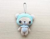 MADE TO ORDER - Felt Keychain -  Valentine Gift -  cute accessories -  Kawaii - Bear plush