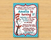 Dr Seuss Cat in the Hat Invitation - Printable - 5x7 Birthday Party Invitation