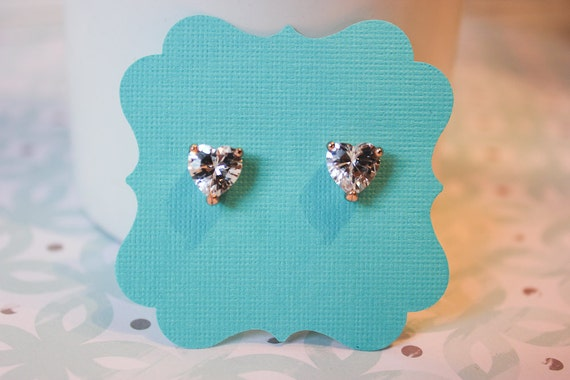 Heart Sparkle Earrings with Rose gold