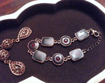 Vintage  enamelled diamante bracelet and earrings set - lovely gift