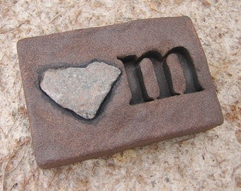"""Love Rocks """"om"""" Plaque with Natural Found Heart Shaped Rock - Great with Yoga - Word Wall Art Sign"""
