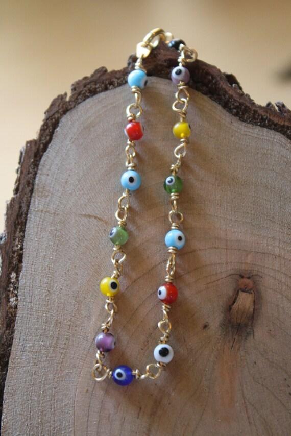 Evil Eye Bracelet, Multicolor,  Mini Round Beads, Brass, Gold Colored