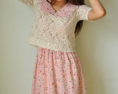 Two-pieces Lace Top Sweet Dress Outer Pull-Over Cartoon Short Sleeves Prom Cute Vintage