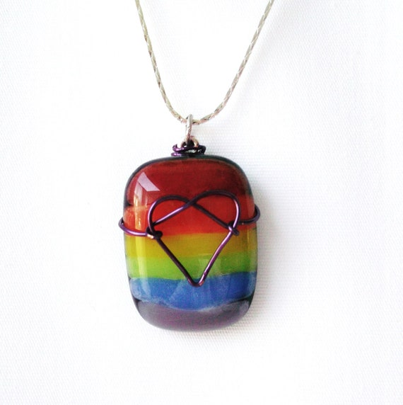 Striped LGBT Pride Rainbow with Heart Pendant