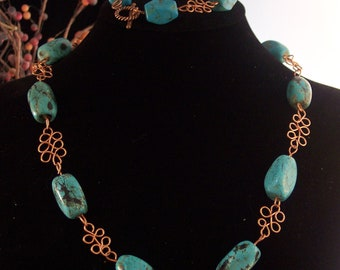 Turquoise Magnesite and Wire Wrapped Copper Necklace