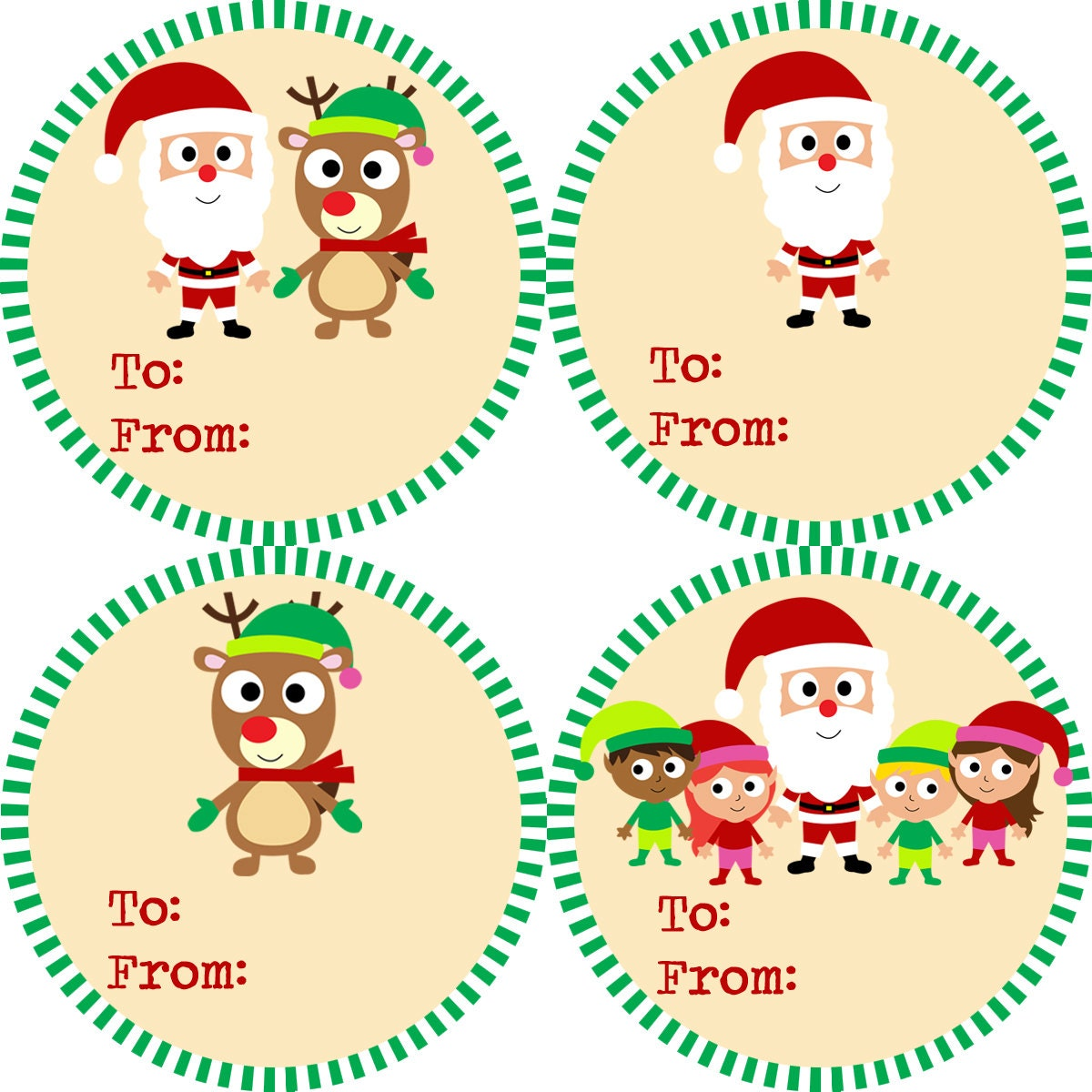 Christmas Gift Tag Stickers Green and Red Striped Santa