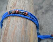 Royal Blue Macrame Bracelet, Beaded Bracelet, Friendship Bracelet