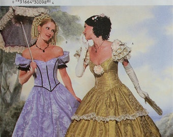 Southern Belle Costume Making History Butterick Pattern 6195  Uncut   Sizes 12-14-16  Bust 34-36-38""