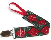 Pacifier clip for baby - Christmas Argyle - paci holder GumDrop Nuk Mam Soothie Holiday pacifier clip