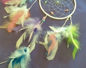 The Angel DreamCatcher 6 Inch White DreamCatcher with Rainbow Feathers and Silver Web..