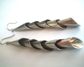Long Metal Earrings Snake Coiled Drop Earrings