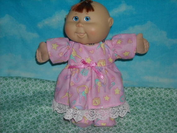 "Reserved For Denise S.....Cabbage Patch Doll clothes Newborn 10""  BABY TOYS  Nightgown and Slippers"