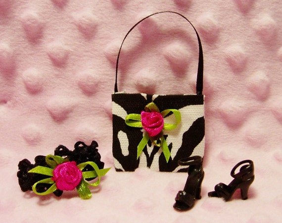 Barbie Clothes - Zebra Print Purse, Hair band, & Shoes