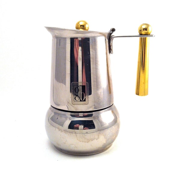 Italian Coffee Maker Small : Items similar to Italian Espresso Maker Mini Single Size Small - Stainless steel - Brass - Gold ...