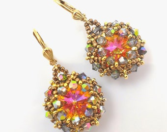 Swarovski crystal earrings in Summer blush