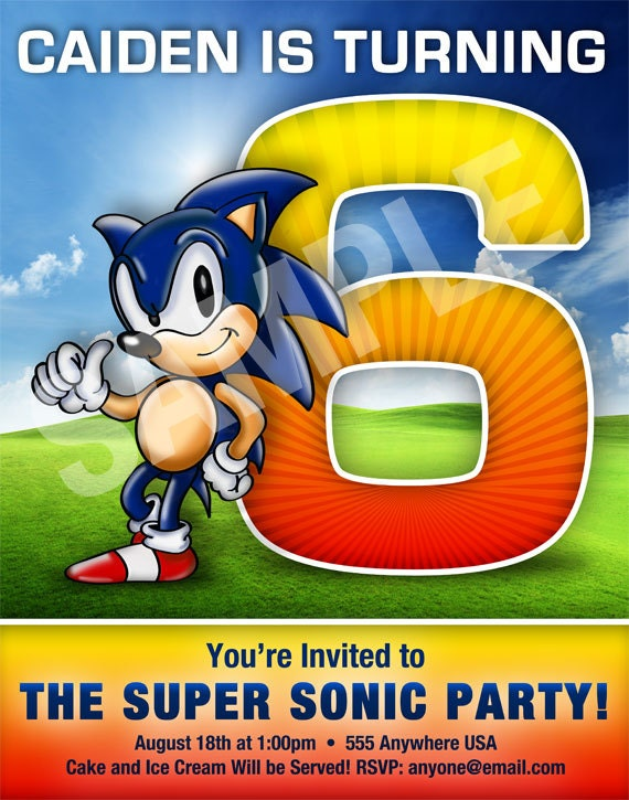 Sonic The Hedgehog Style Birthday Invitation Digital File