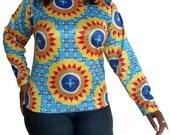 Womens Shirt Yellow Flower Sky Blue Bold Print Medium - Long Sleeve - Winter Fashion