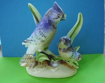 Vintage Made in Japan Porcelain Mother and Baby Blue Jay