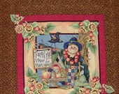 HARVEST HIill Scarecrow Quilt Wall Art With Sunflowers Fall Home and Living Decor Gift Item