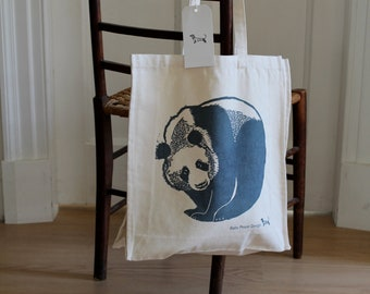 Heavy canvas Tote bag with screen printed image of a panda