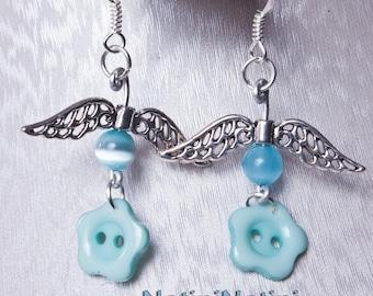 Winged flower earrings