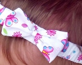 Butterfly & Flowers Headband with a Matching Bow, sizes to fit from Baby to Adult or Made to Measure