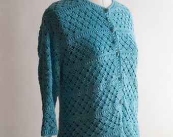 Vintage aqua turquoise blue cotton crochet cardigan jacket size 12