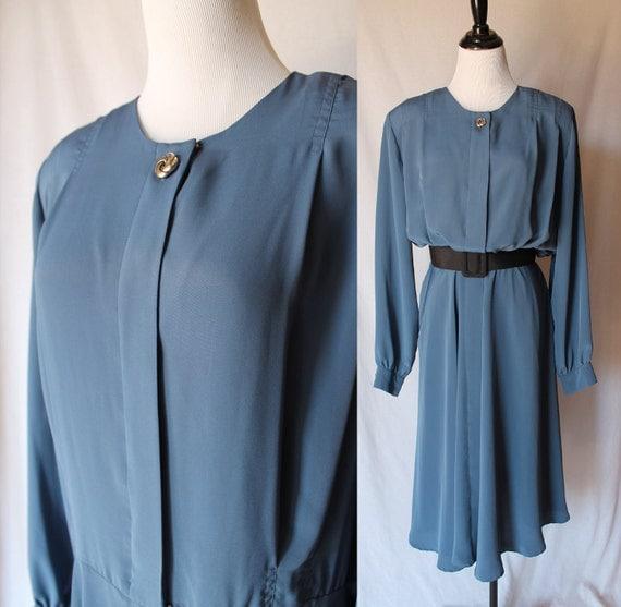 80s Blue Andrea Gayle Vintage Dress