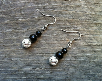 Silver Black Earrings Glass Pearl on French Wire Hook