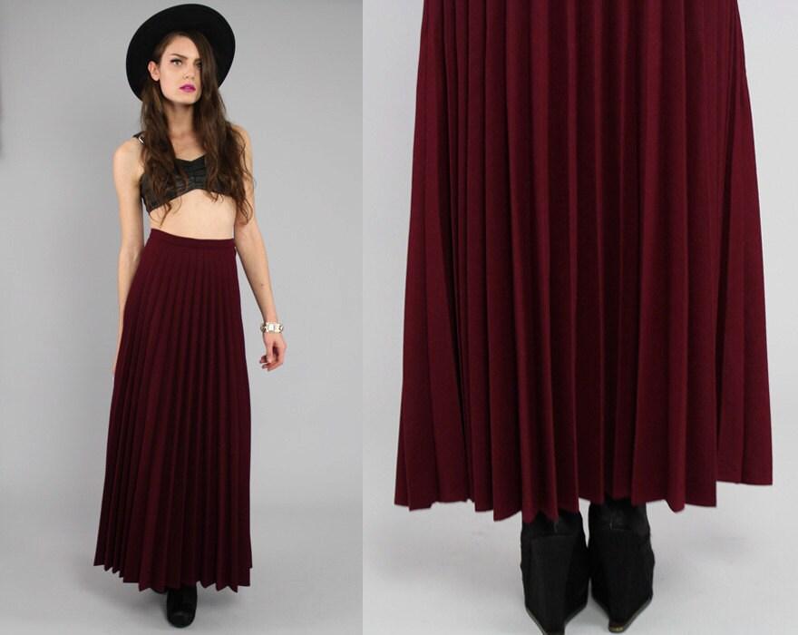 vtg 70s burgundy wool pleated high waist maxi skirt xs s