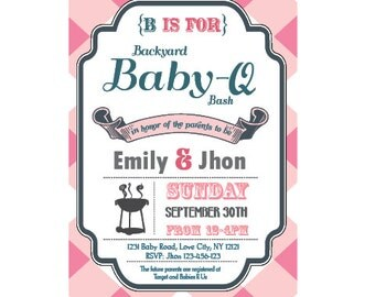 Baby-Q Baby Shower BBQ invitation couples - girl