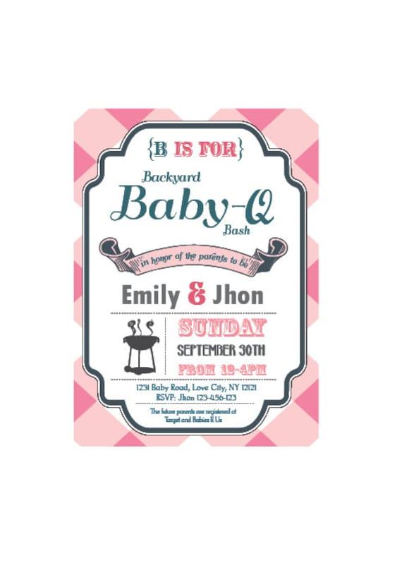 baby q invitation | etsy, Baby shower invitations