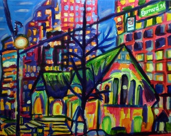 Limited Edition Giclee Canvas Print 8x10 - Where Old Meets New - Colorful City Building Art