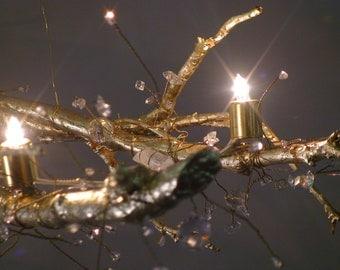 Tree Branch Crystal Chandelier with 22 KT gold leaf, natural quartz crystal, swarovski crystal, halogen bulbs