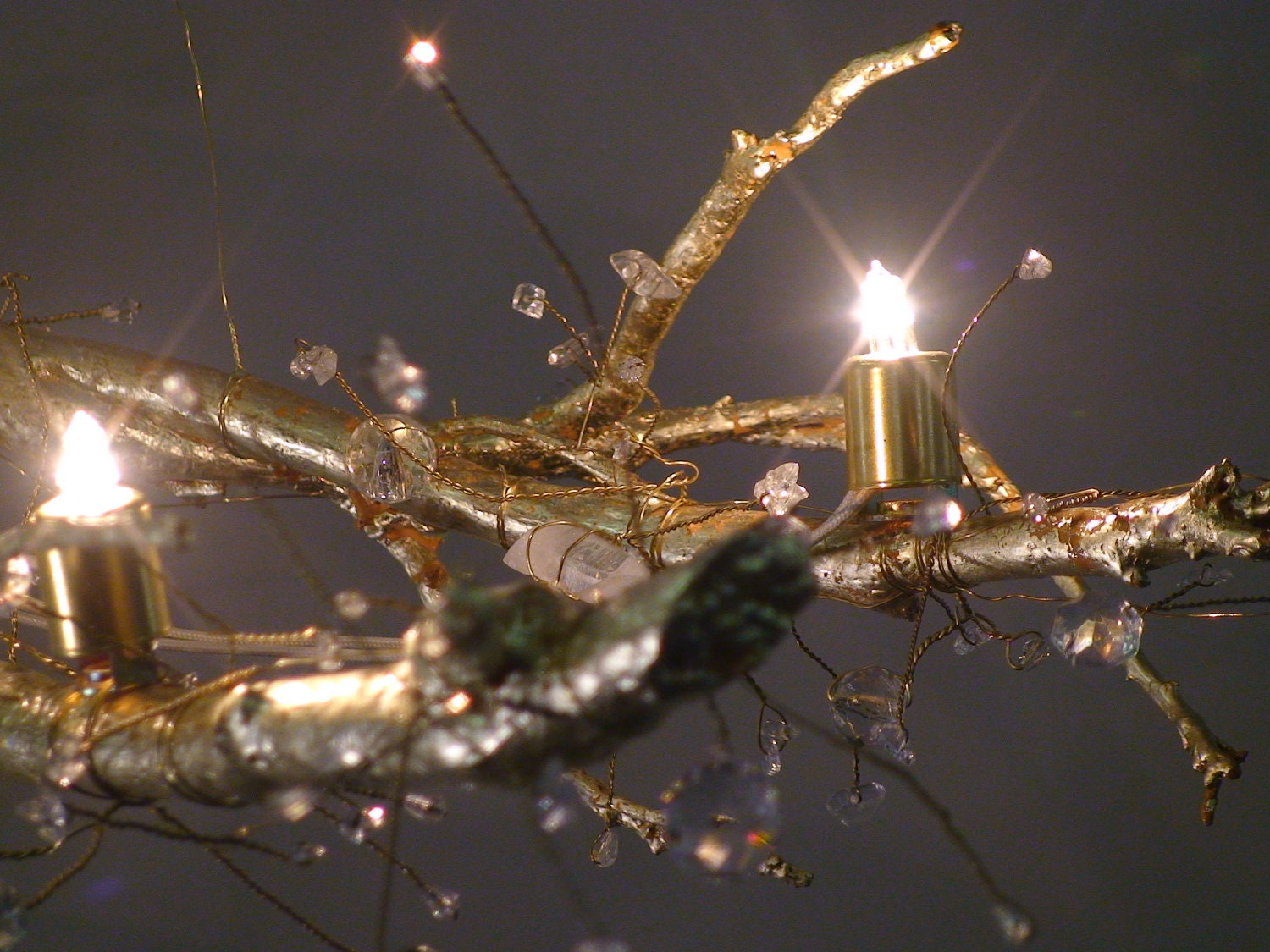 Tree Branch Crystal Chandelier With 22 Kt Gold Leaf Natural