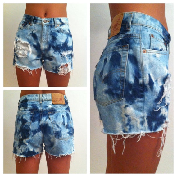 tie dye high waisted shorts vintage levis