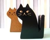 SALE Kitty cat wooden tape dispenser by Decole Japan. IN BLACK.