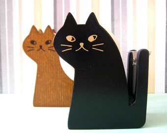 "CLEARANCE  Kitty cat wooden tape dispenser by Decole Japan. ""BLACK"""