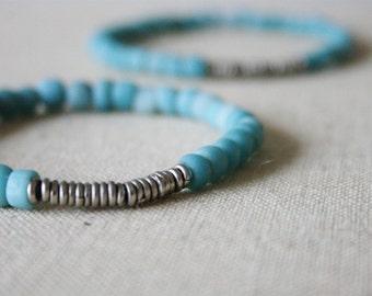 sky blue glass bracelet // Indonesia // Kenya silver heishi // tribal // rustic // minimal // eco // handmade