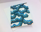 """Colorful Art Stationery - """"Just a Quick Wave""""  Graph Drawing, Notecard, Stationery, 3x5 Folded Notecard"""