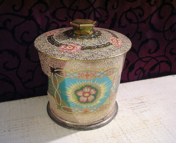 Beautiful Vintage Tin  - Pale Pink with Hawaiian-Like Floral Motifs and Embossed Details Made in England