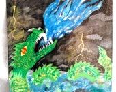 Acrylic Green Sea Serpent Dragon Battle pt.1 14 x 18