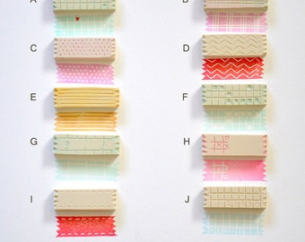 Washi tape stamps / Hand Carved Rubber Stamp / set of 3