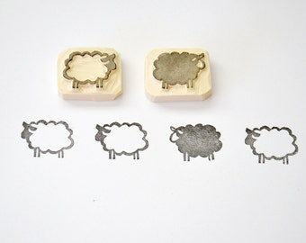 Hand Carved Rubber Stamp / sheep / set of 2