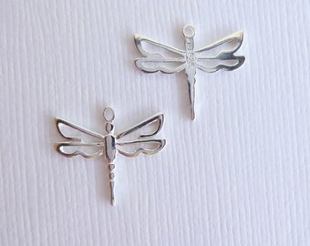 Sterling Silver Dragonfly Charm -- 2 Pieces -- 925 Sterling Openwork Insect Bug Pendant Connector