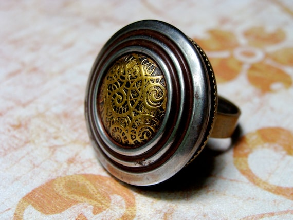 """Steampunk Ring, Pewter Gold Ring, Upcycled Button Ring, Fall Fashion Statement Ring, Adjustable Industrial Vintage - """"Farewell to Whiskey"""""""
