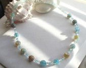 Blue Agate and Aquamarine Beaded Necklace or Choker for Spring, Summer, Weddings, Easter, Mother's Day, Graduation, Gift for Her