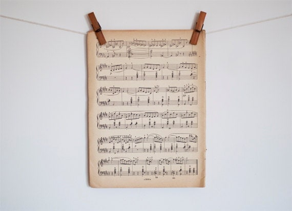 Vintage Music Sheet Paper - 10 pieces - made in Soviet Union