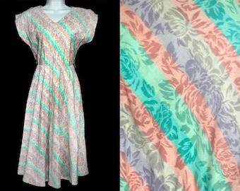 Vintage 80's JUST IN THYME Ltd Pastel Color Stripe & Floral Dress S